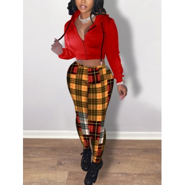 Lovely Casual Hooded Collar Long Sleeve Plaid Prin