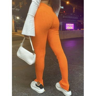 Lovely Casual Striped Skinny Orange Pants