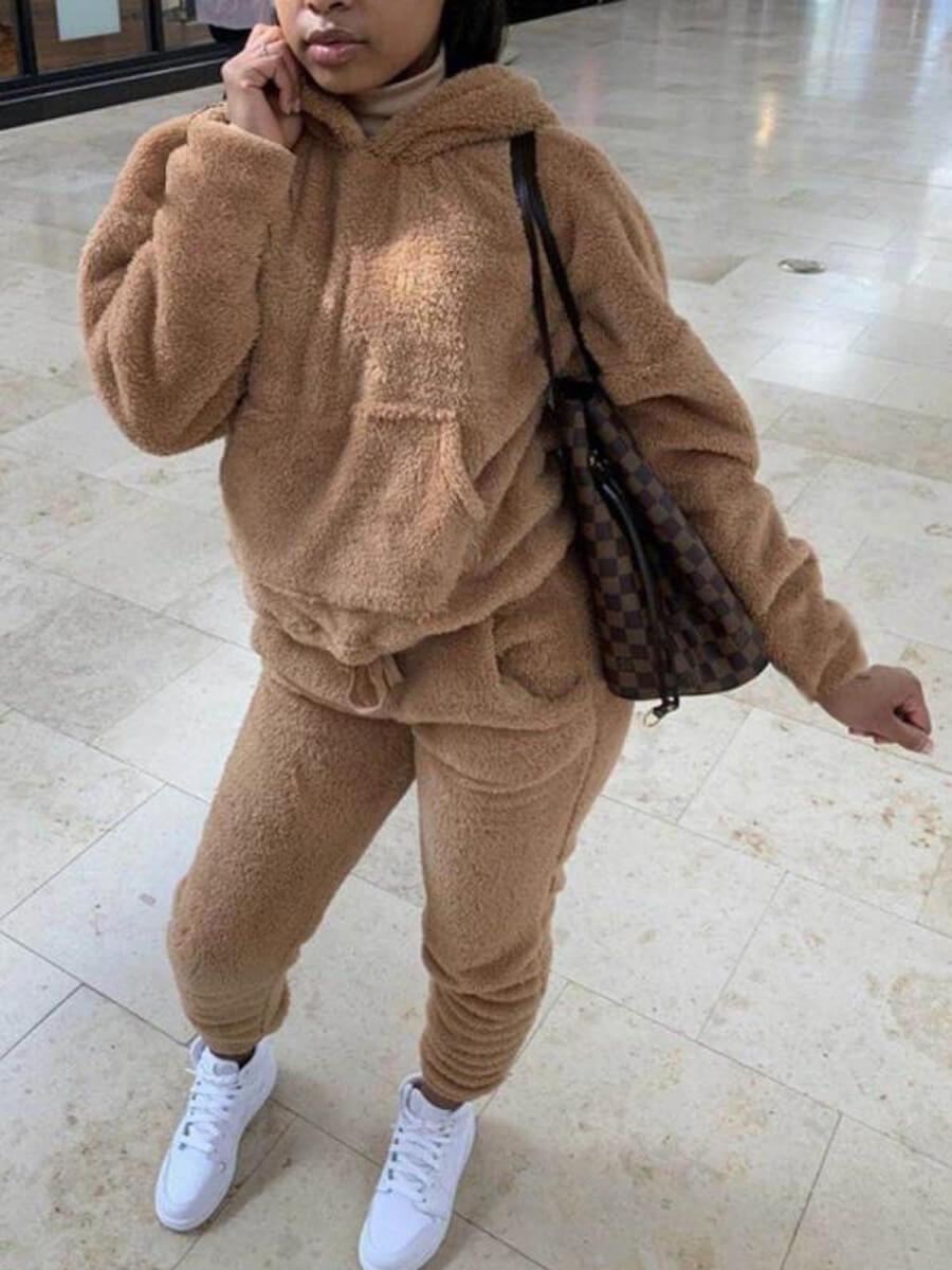 LW Kangaroo Pocket Oversized Plush Pants Set