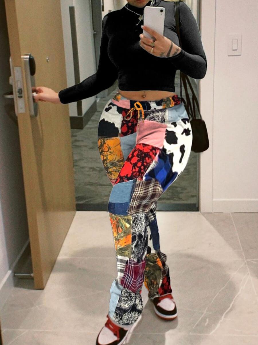 Lovely Plus Size Trendy Print Patchwork Multicolor Pants