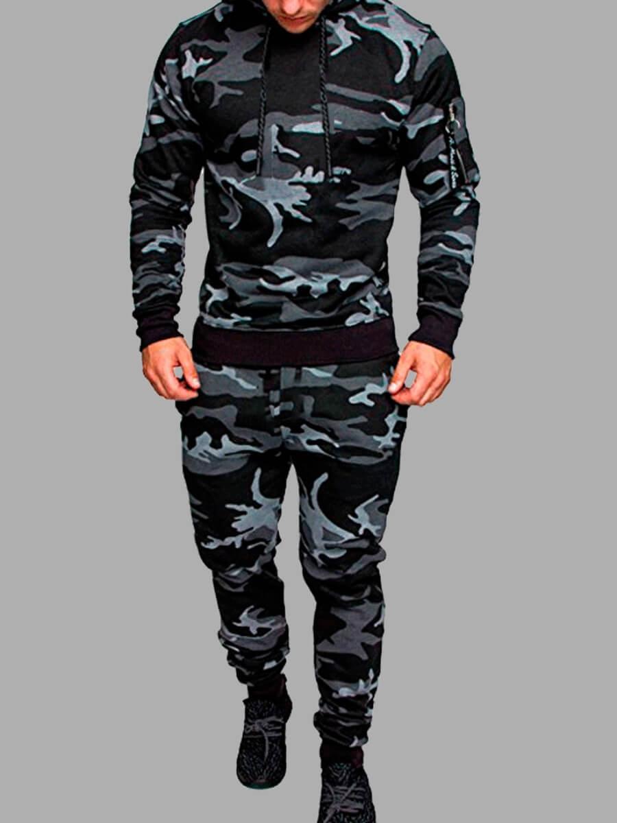 LW Men Trendy Hooded Collar Camo Print Grey Two-piece Pants Set