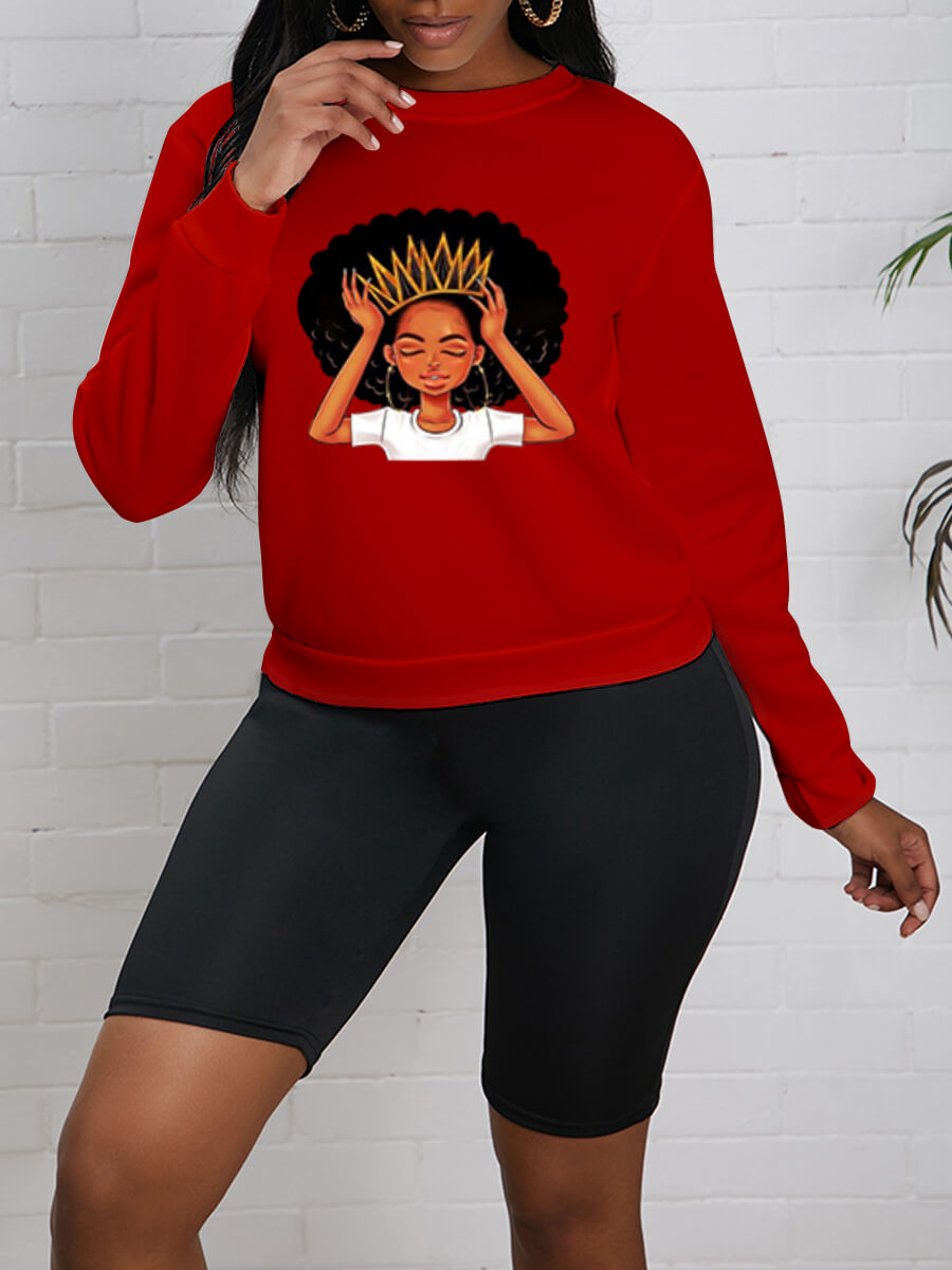 Lovely Leisure O Neck Print Red Hoodie