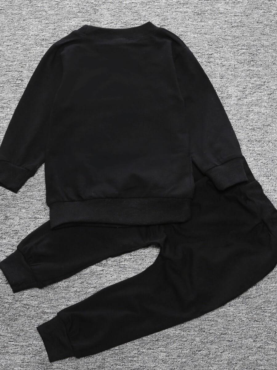 Lovely Trendy Hooded Collar Print Black Boy Two-pi
