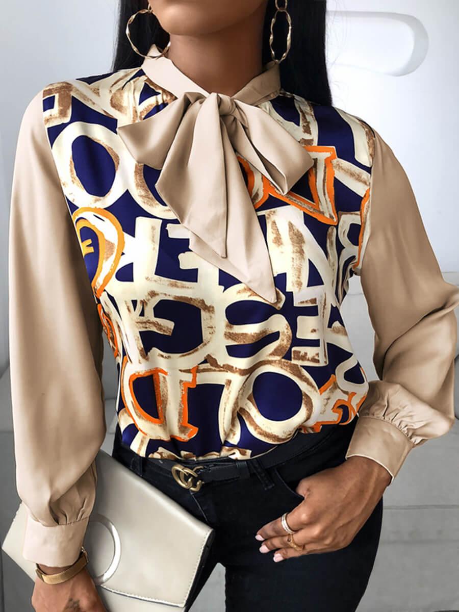 Lovely Fashion Ribbon Collar Letter Print Brown Bl