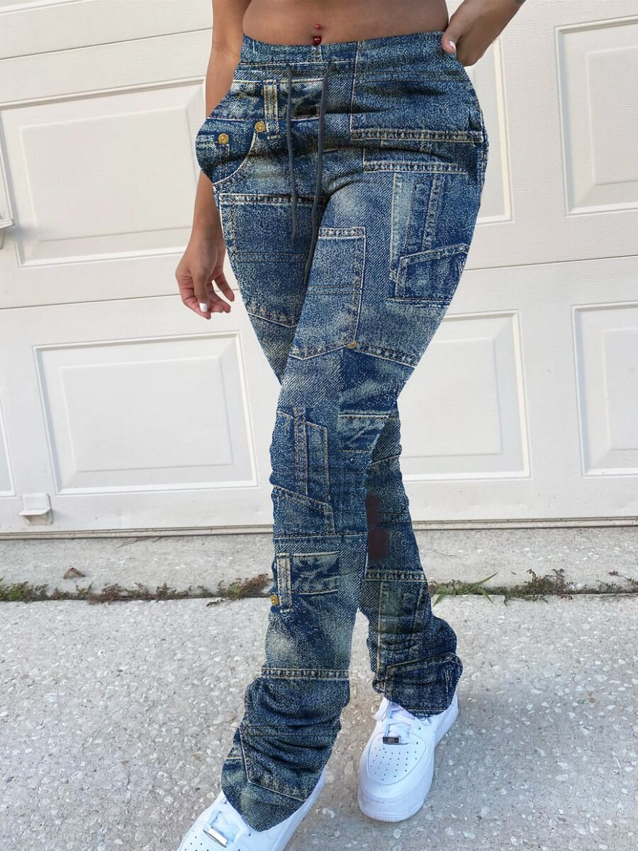 Lovely Street Patchwork Blue Pants