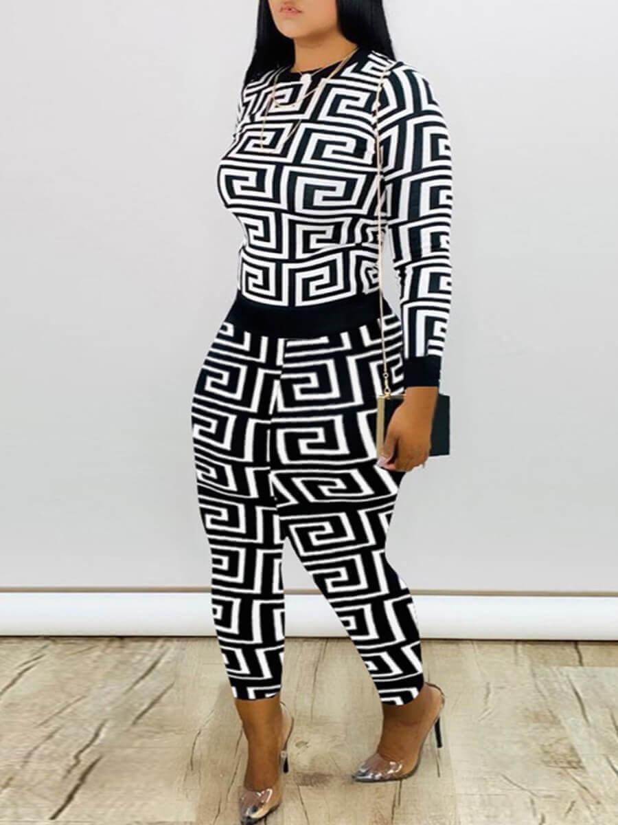 Lovely Casual O Neck Geometric Print White Two Piece Pants Set