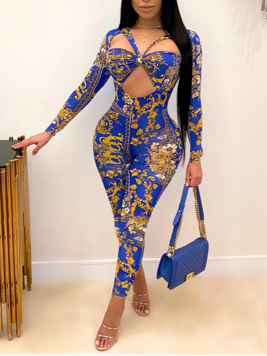 LW Mixed Print Hollow-out Skinny Jumpsuit