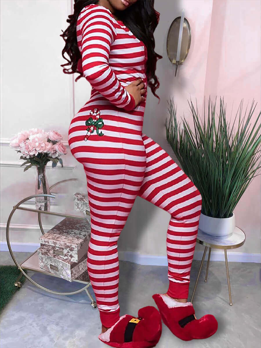 Lovely Casual Striped Print Red Sleepwear