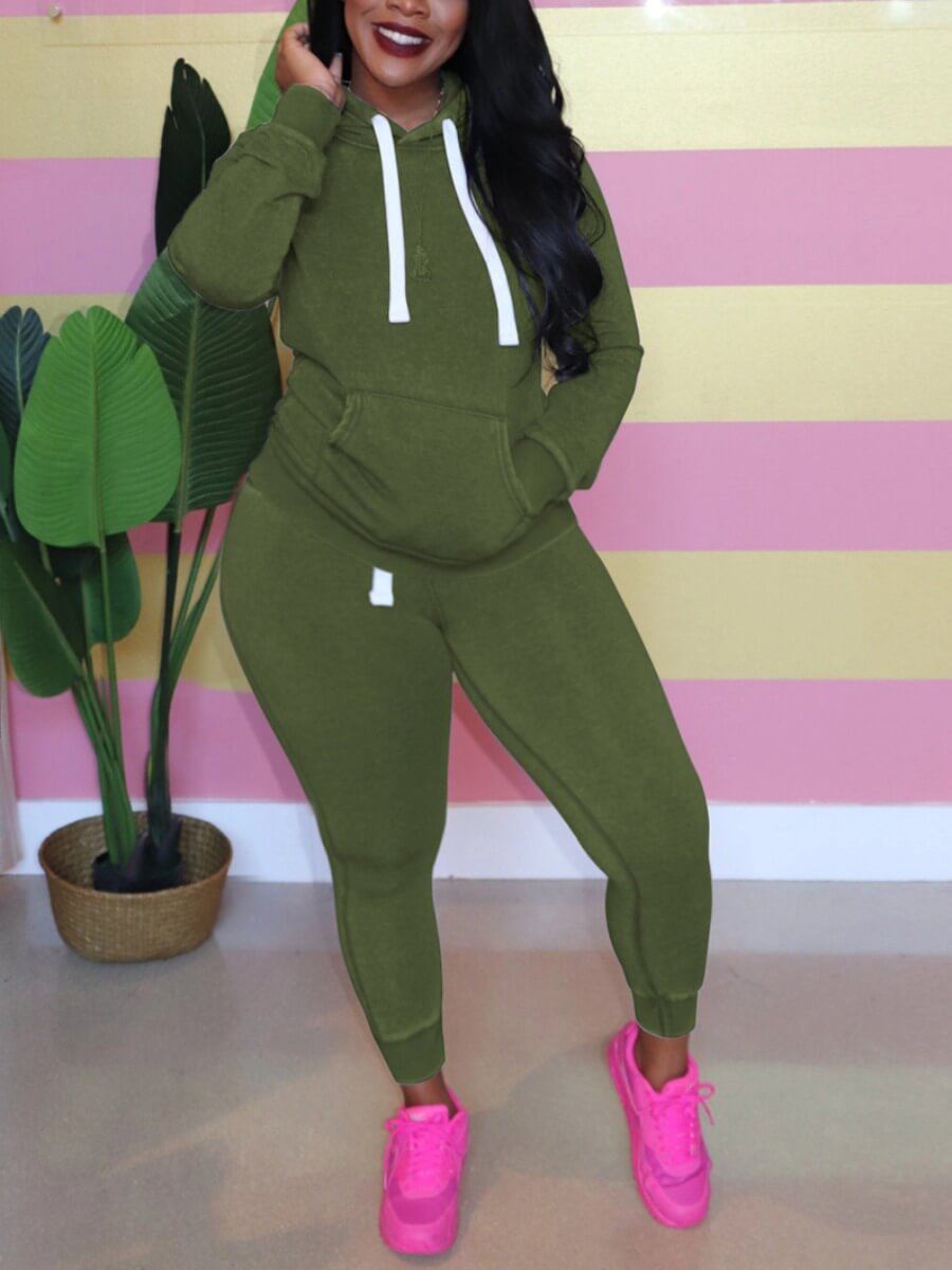 Lovely Plus Size Hooded Collar Pocket Patched Pants Set