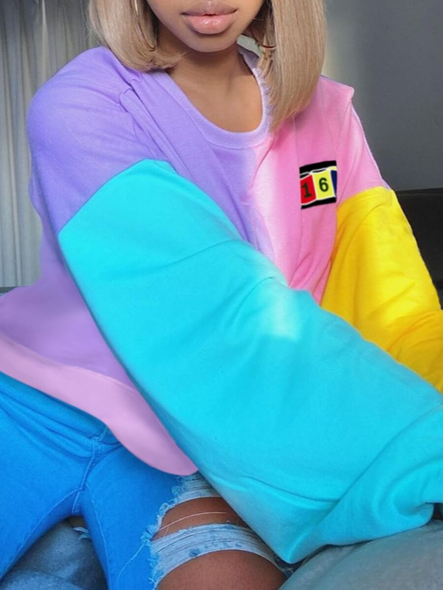 Lovely Casual O Neck Patchwork Multicolor Hoodie