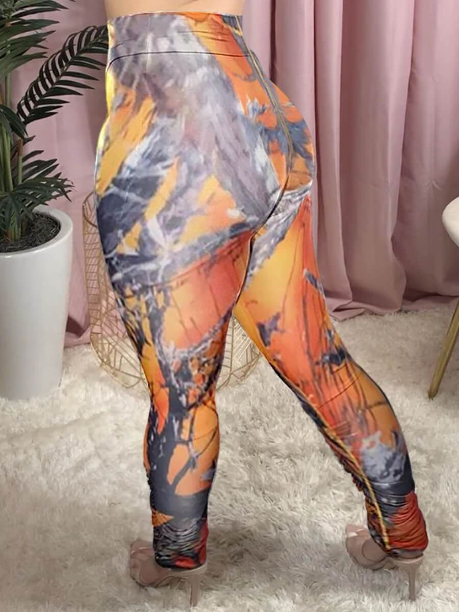 LW Casual Mid Elastic Print Skinny Orange Pants