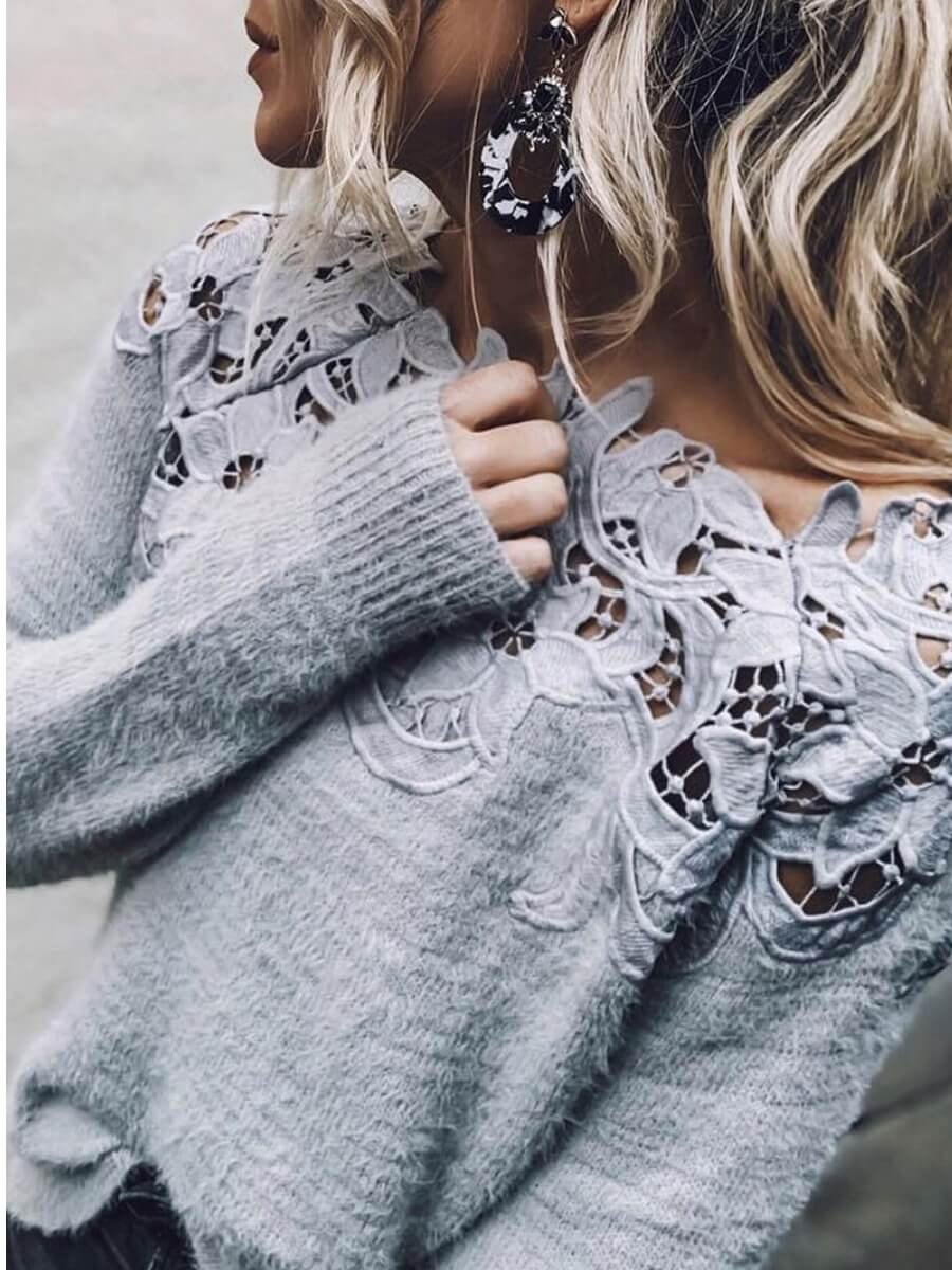 LW Chic Lace Patchwork Grey Sweater