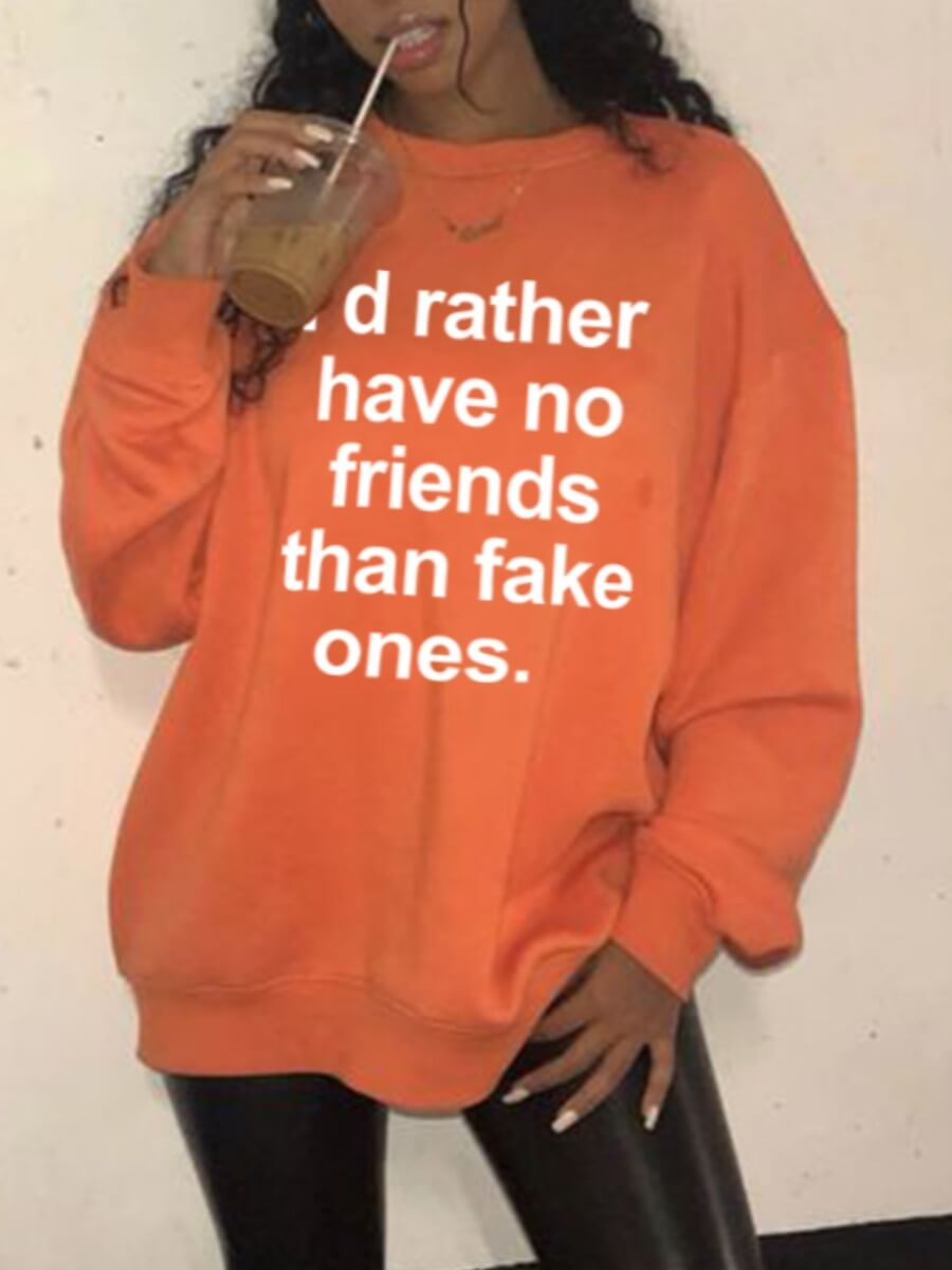 Lovely Casual O Neck Letter Print Orange Hoodie