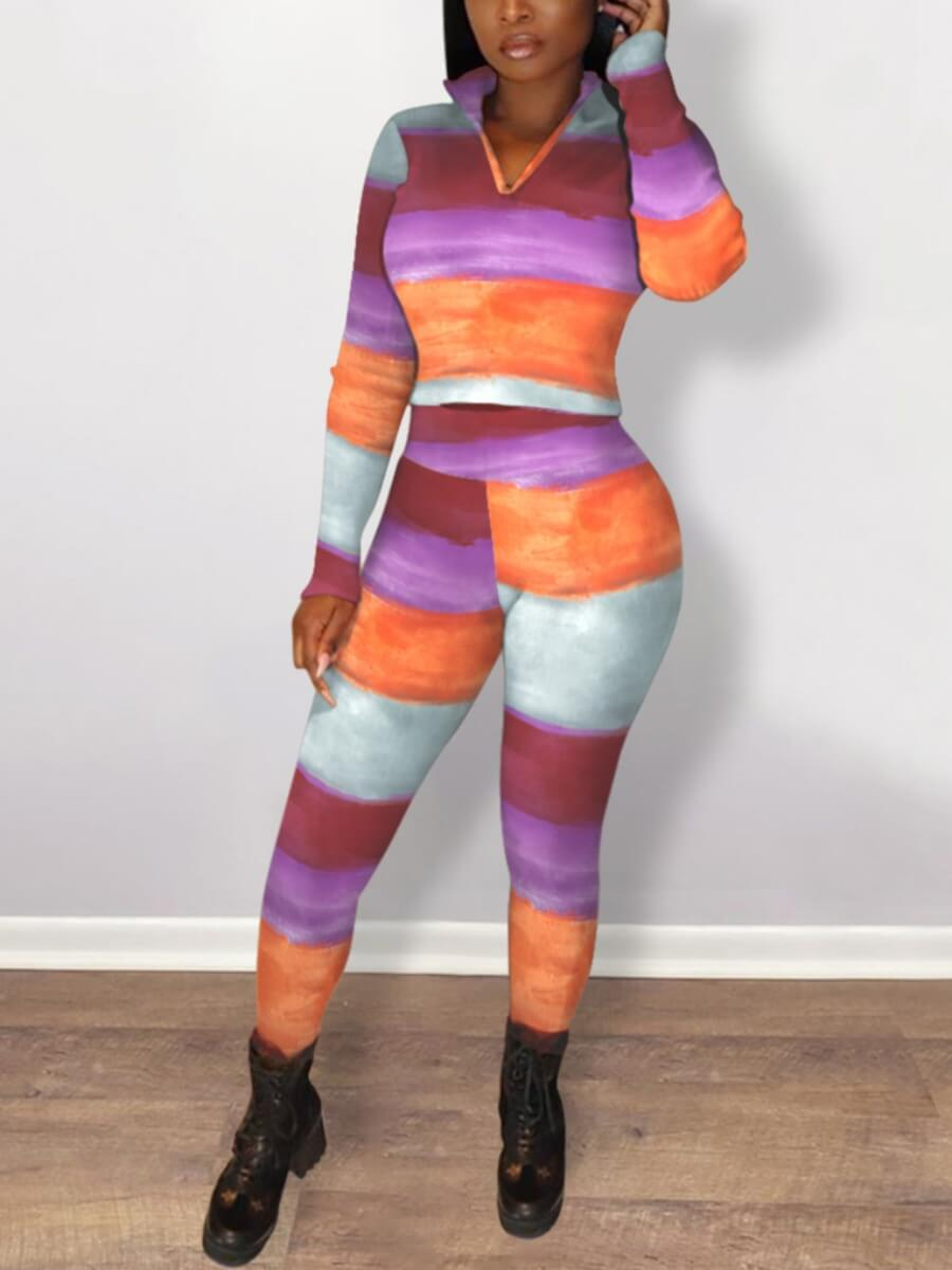 Lovely Casual Print Patchwork Multicolor Two Piece