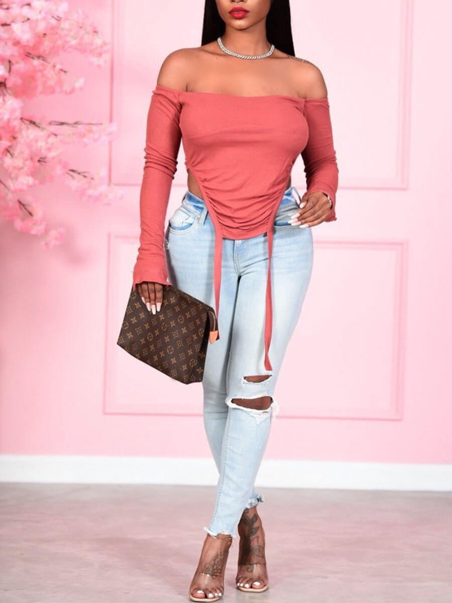 Lovely Street Off The Shoulder Asymmetrical Pink T