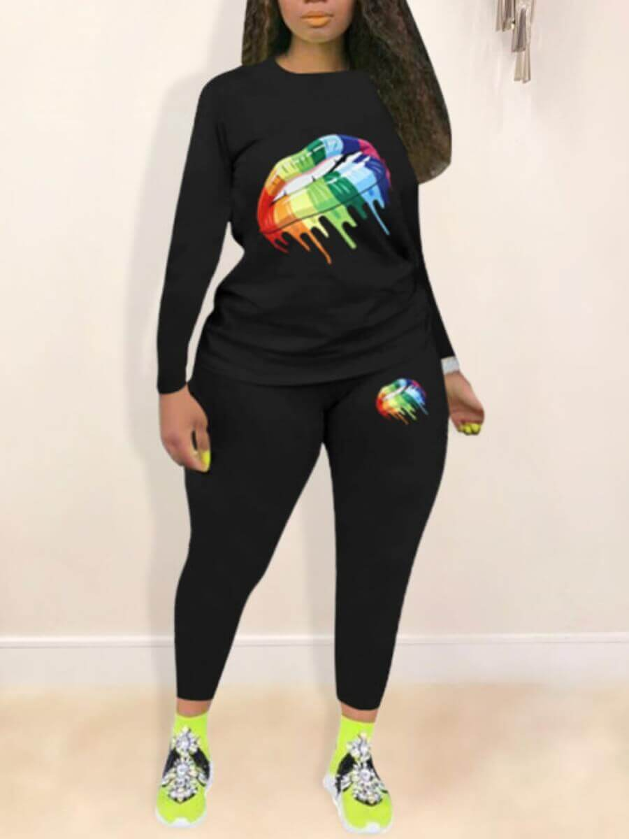 Lovely Casual Lip Print Black Plus Size Two-piece