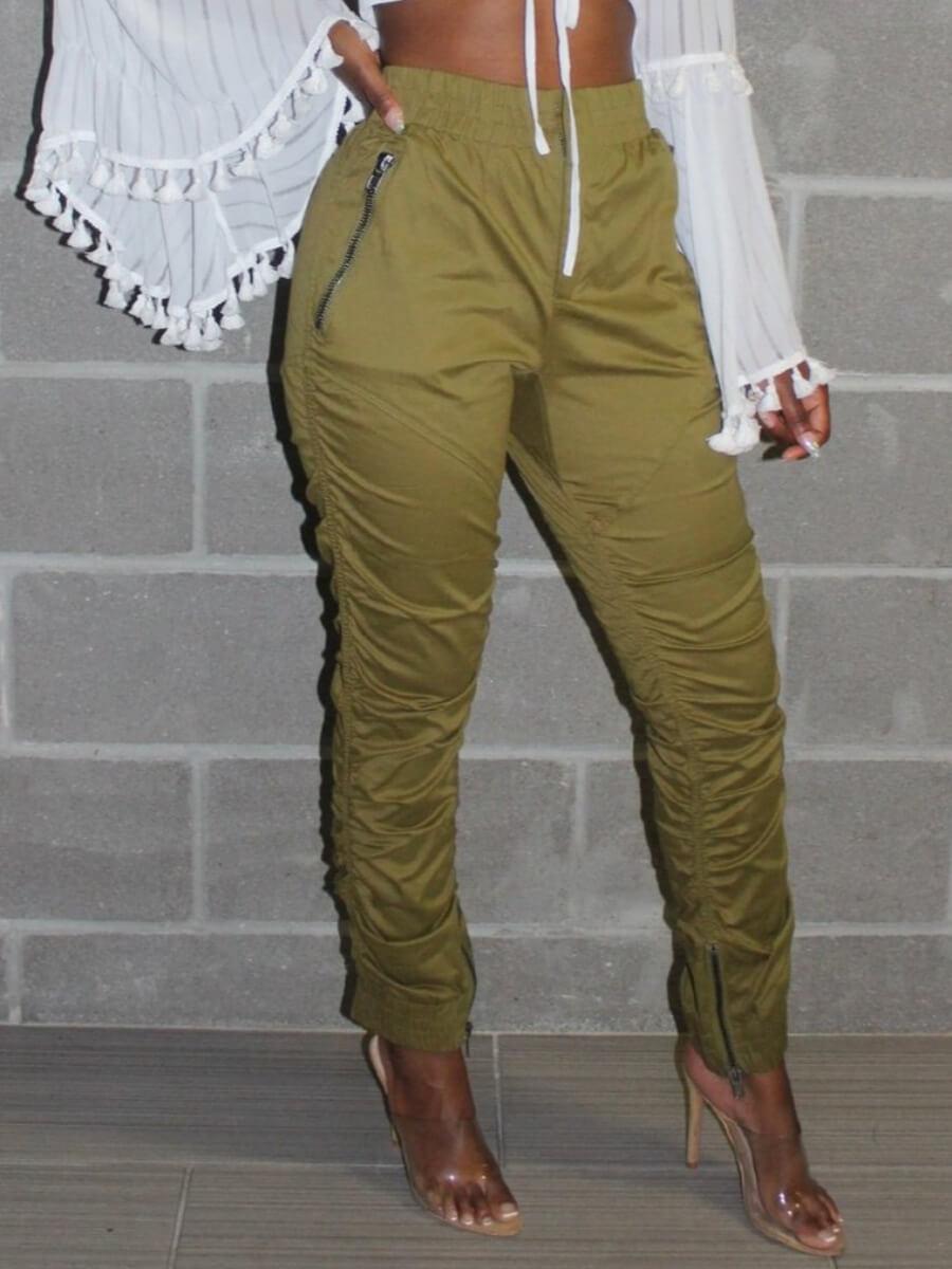 Lovely Sweet Fold Design Loose Khaki Pants
