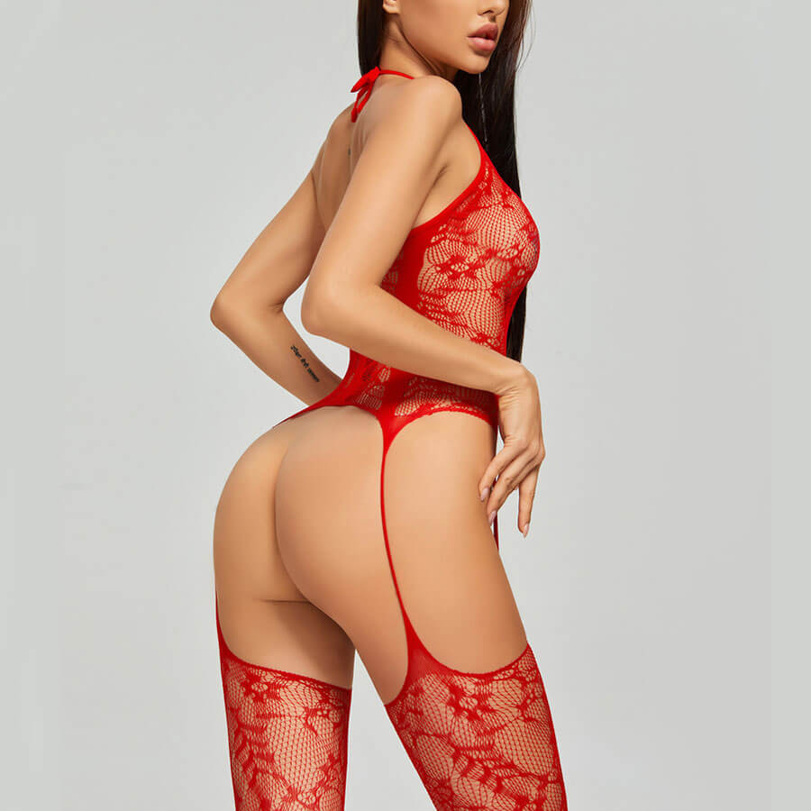 Lovely Sexy Lace See-through Red Bodystocking