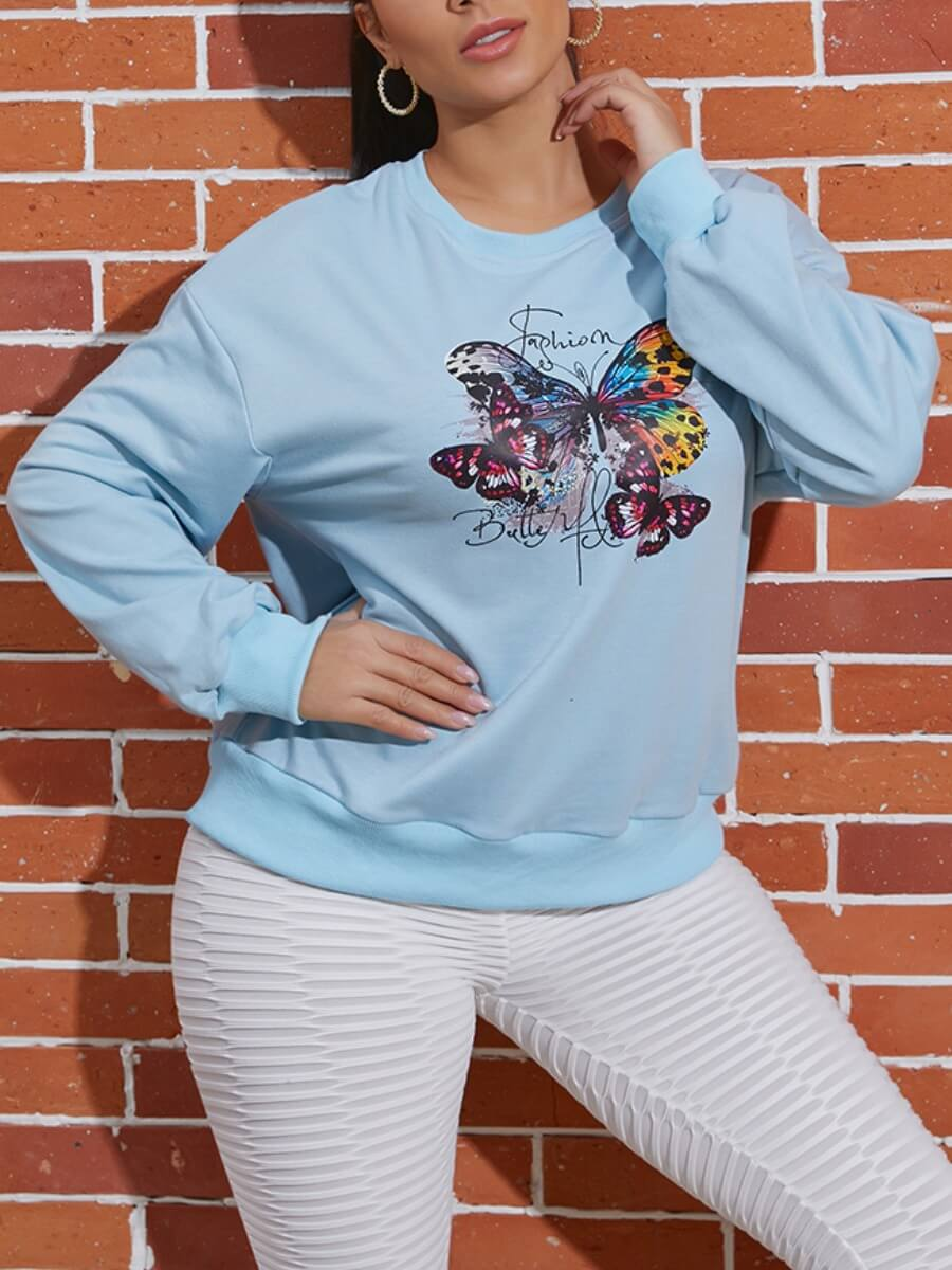 Lovely Sweet O Neck Butterfly Print Blue Hoodie