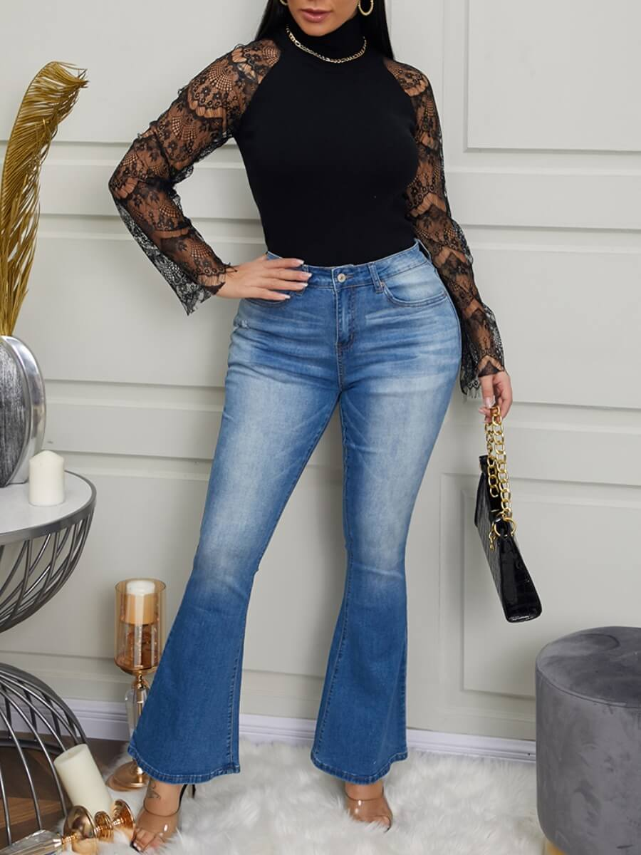 LW Casual Flared Design Blue Jeans