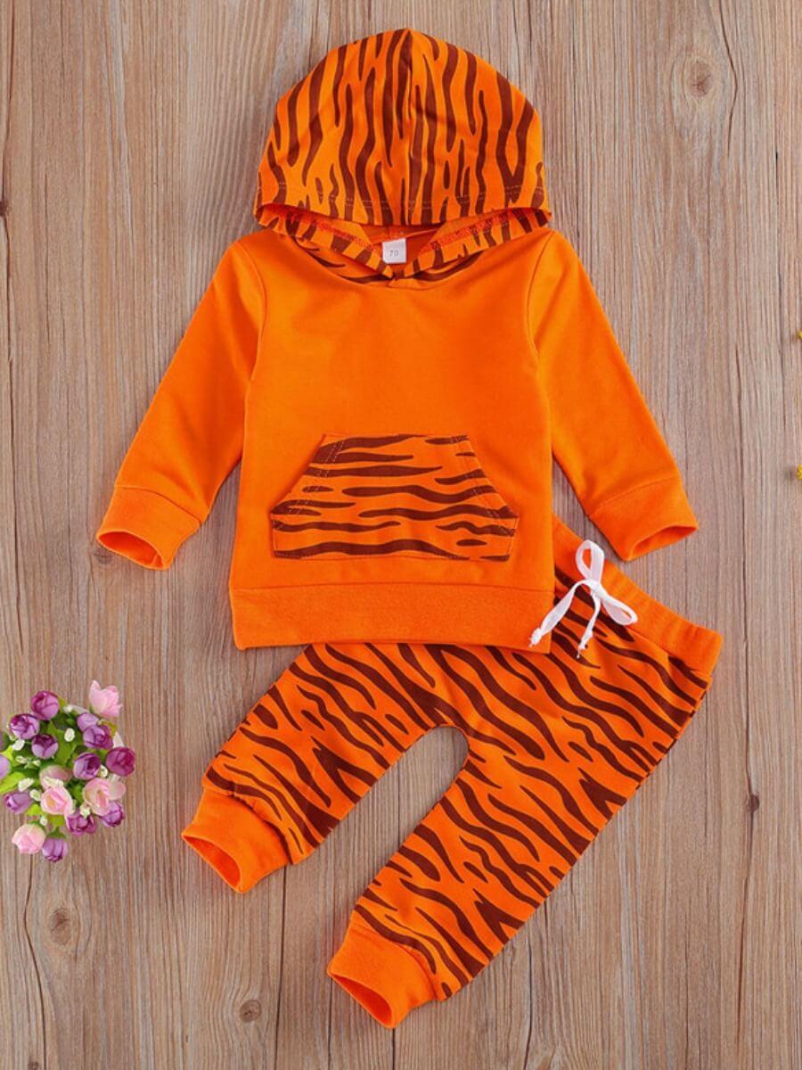 Lovely Trendy Hooded Collar Striped Print Orange B