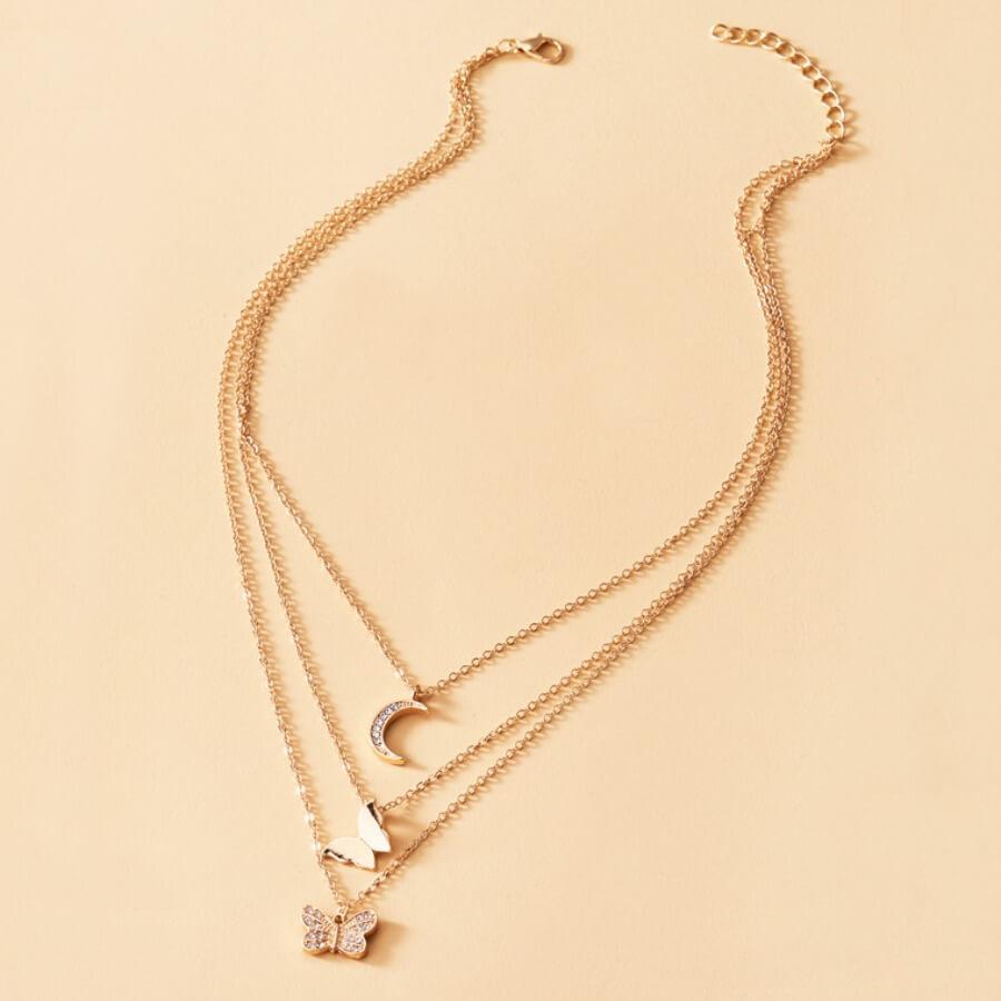 Lovely Stylish 3-piece Gold Necklace