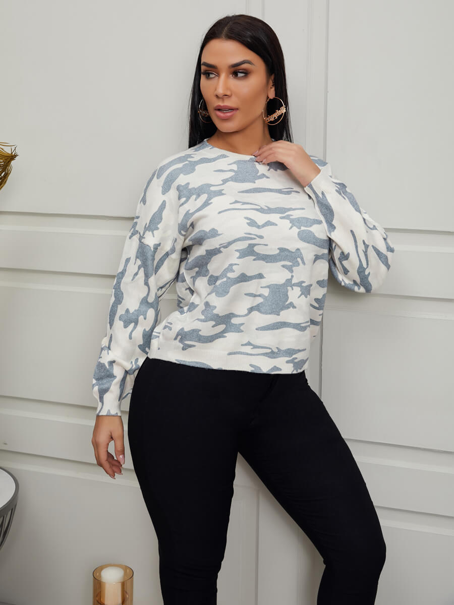 Lovely Casual Dropped Shoulder Camo Print Sweater