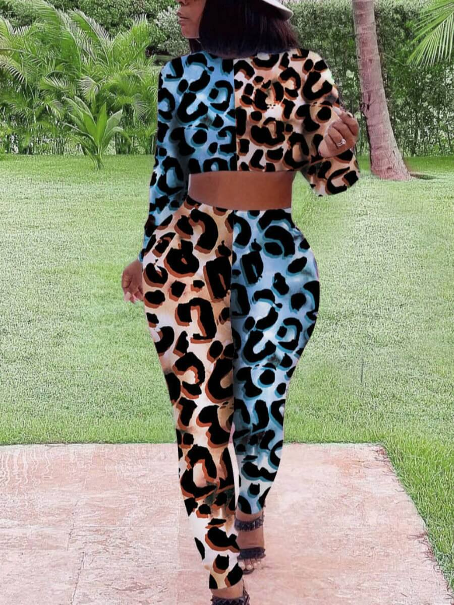 Lovely Casual Leopard Print Patchwork Two Piece Pa
