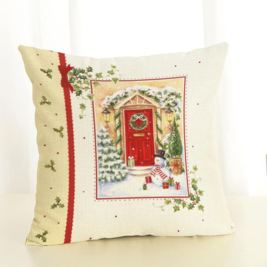 Lovely Christmas Day Floral Print Red Decorative P