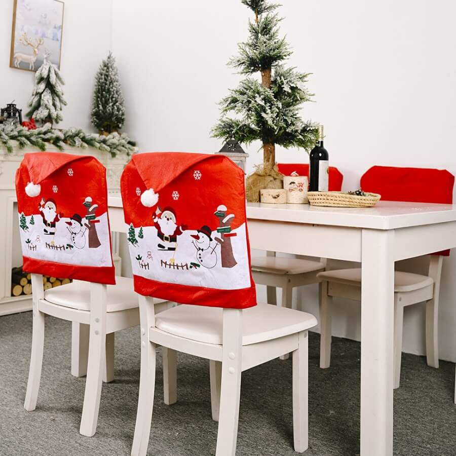 Lovely Christmas Day Cartoon Print Patchwork Red C