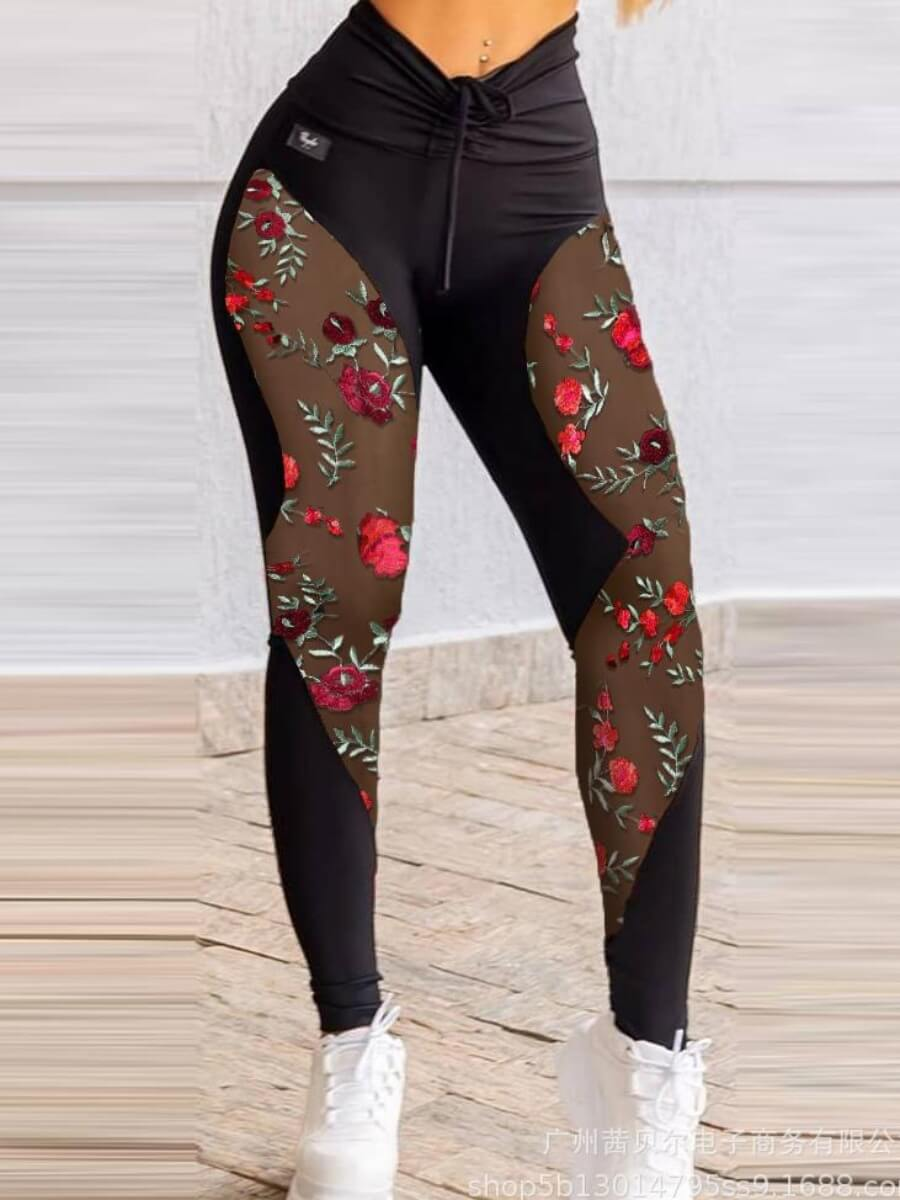 Lovely Sportswear Floral Print Mesh Patchwork Draw
