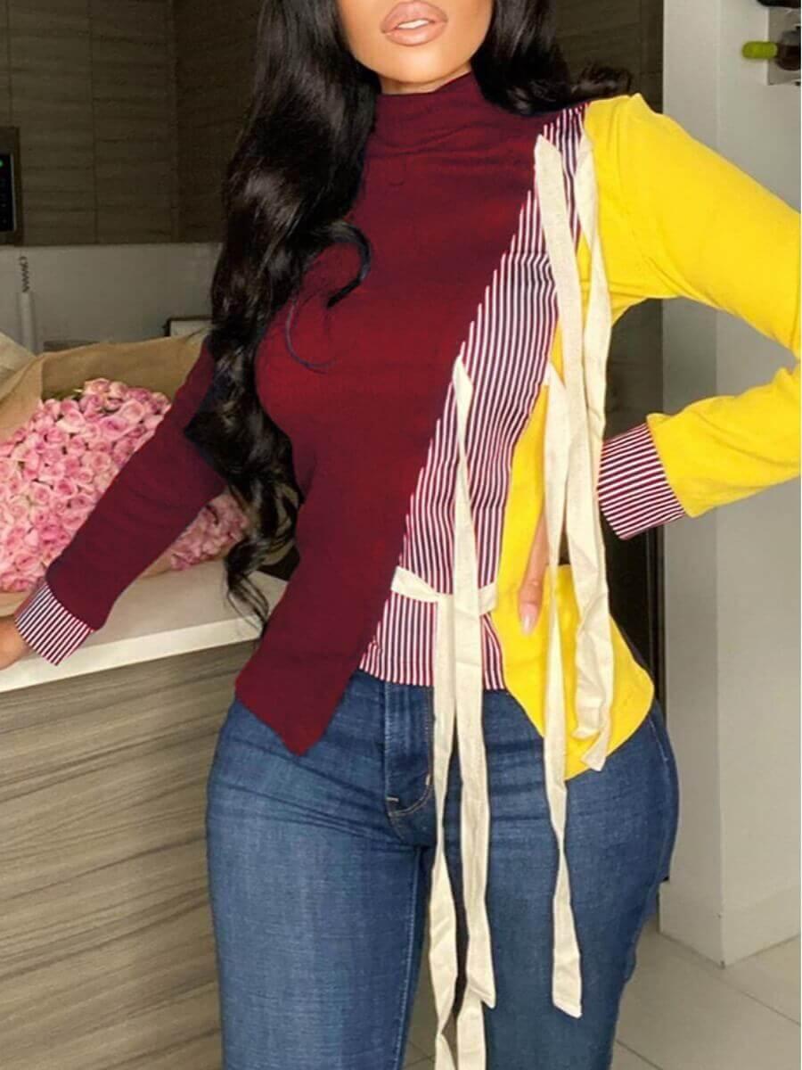 Lovely Stylish Turtleneck Patchwork Lace-up Red Ho