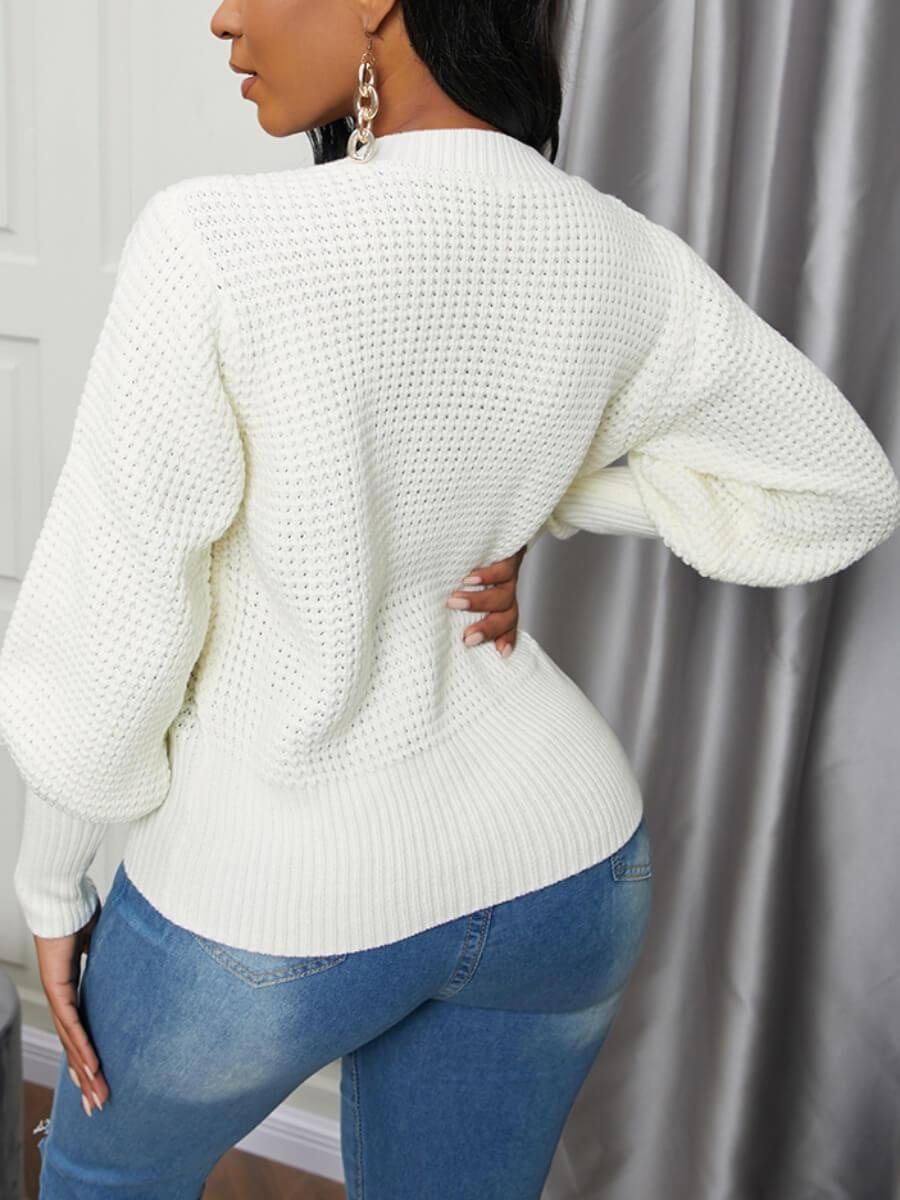 Lovely O Neck White Sweater