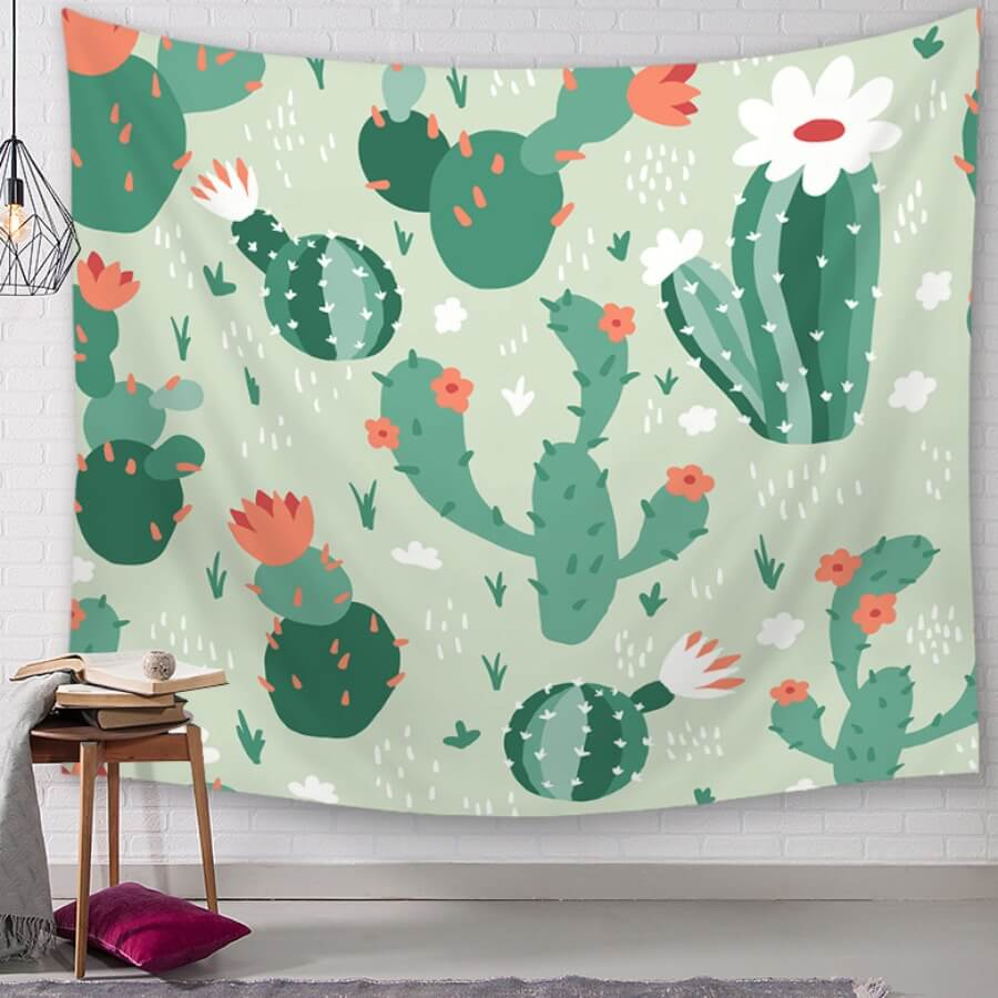 Lovely Christmas Day Floral Print Green Wall Cloth