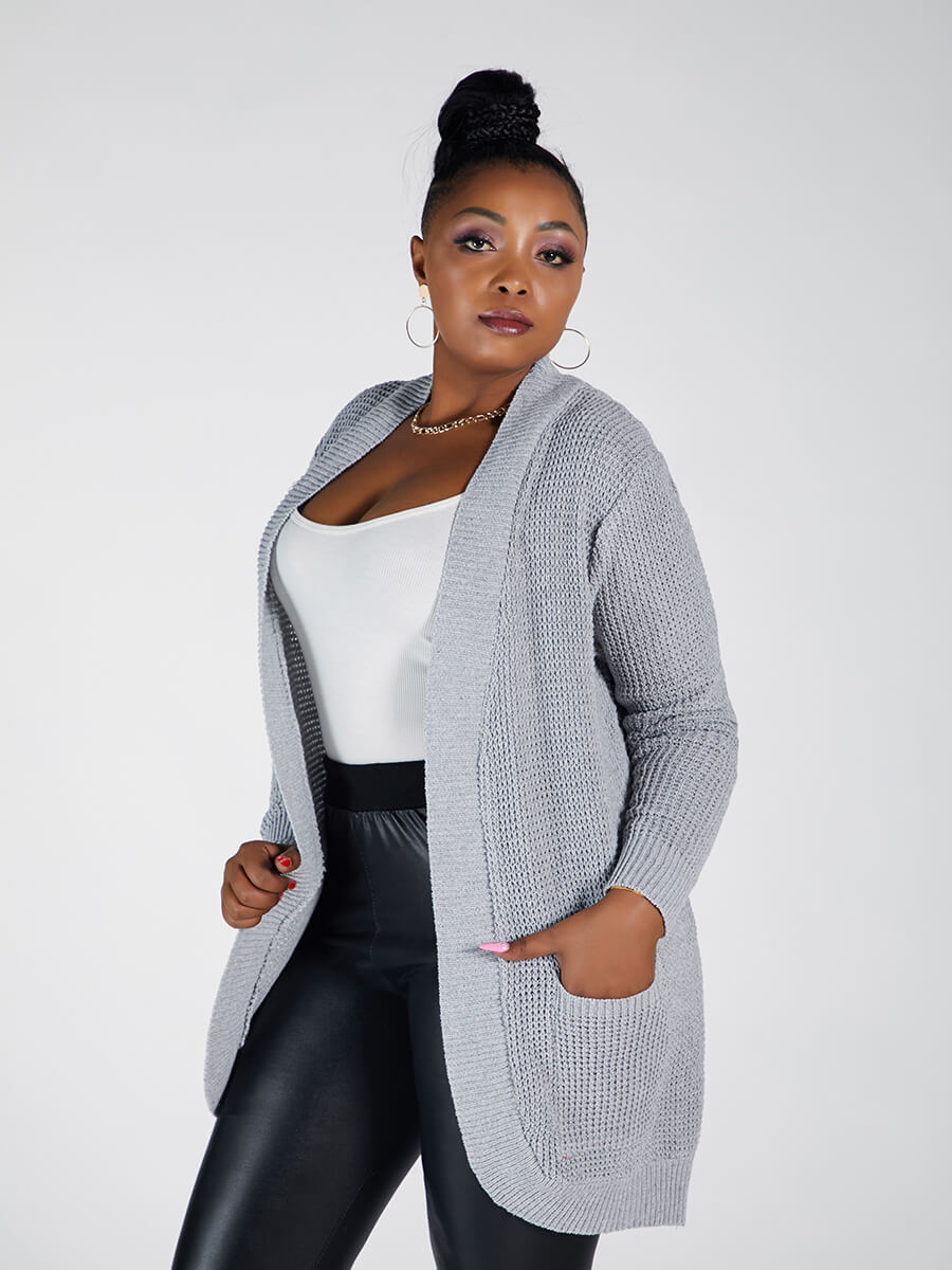 Lovely Casual Pocket Design Loose Grey Plus Size C