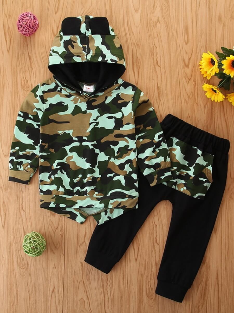 Lovely Sportswear Hooded Collar Camo Print Boy Two