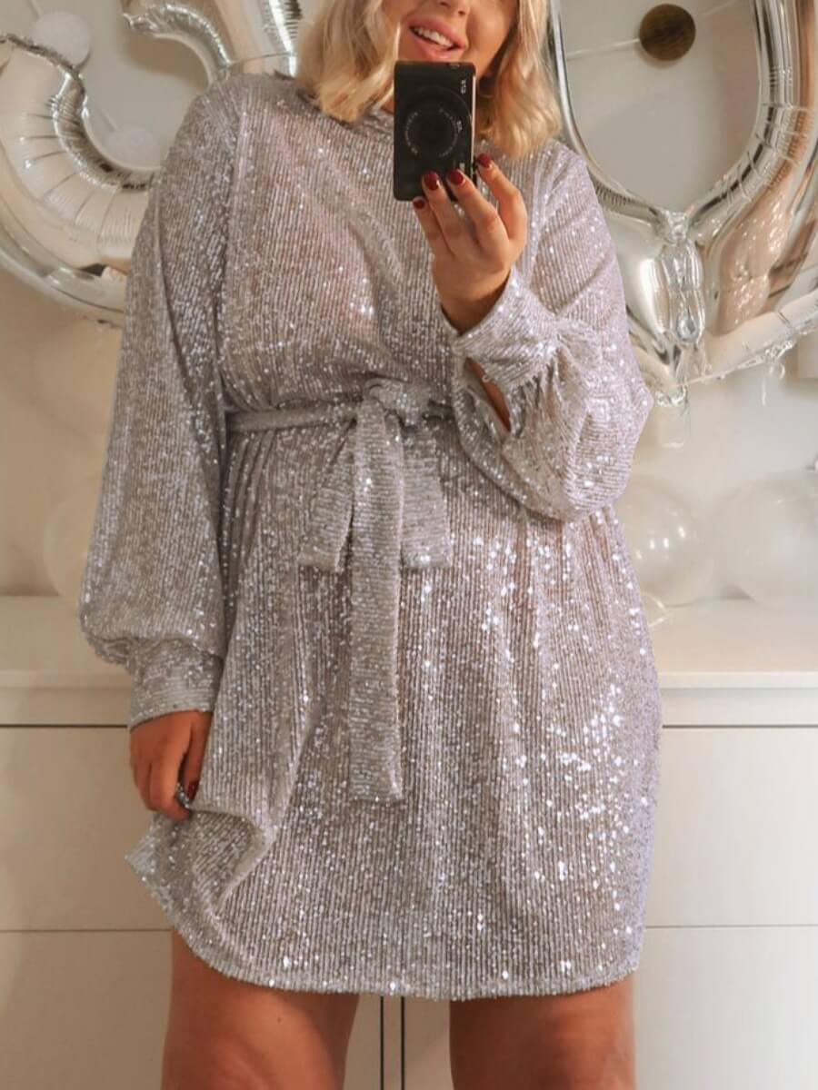 LW Party  Half A Turtleneck Sequined Lace-up Silver Knee Length A Line Dress