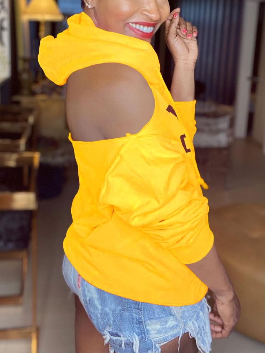 Lovely Street Letter Print Hollow-out Yellow Hoodi