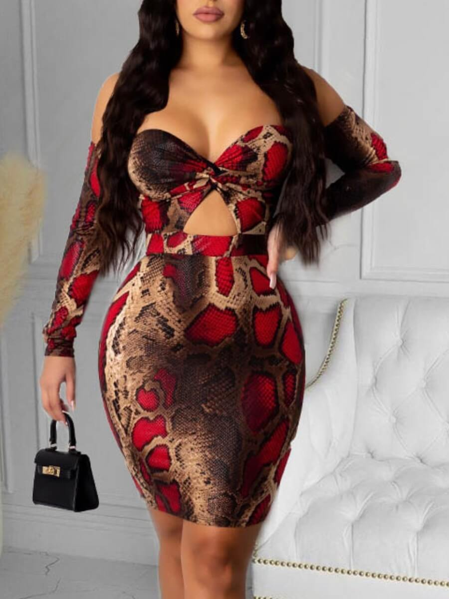 Lovely Sexy Bateau Neck Animal Print Hollow-out Re