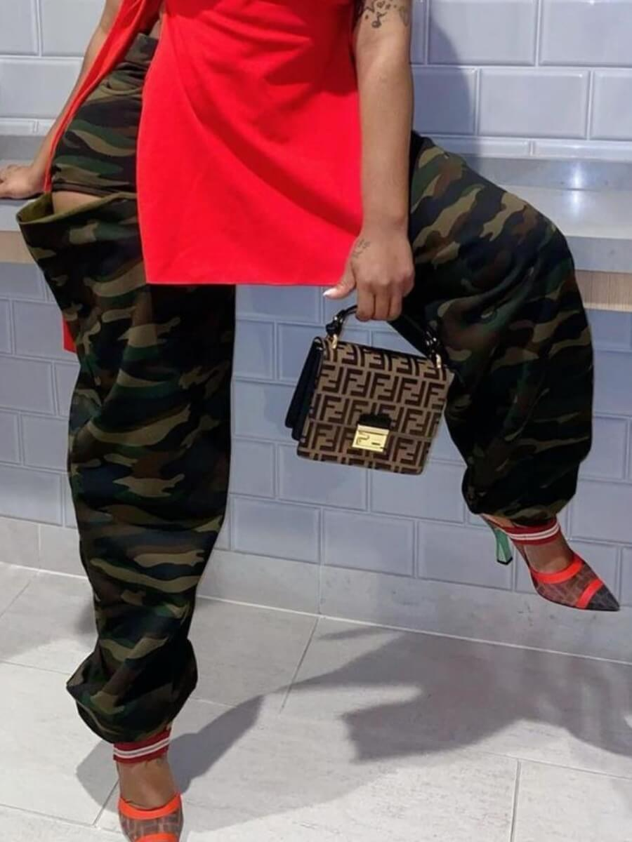 Lovely Street Camo Print Patchwork Loose Pants