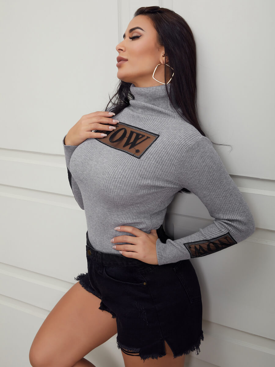 Lovely Casual Turtleneck Letter Print Grey Sweater