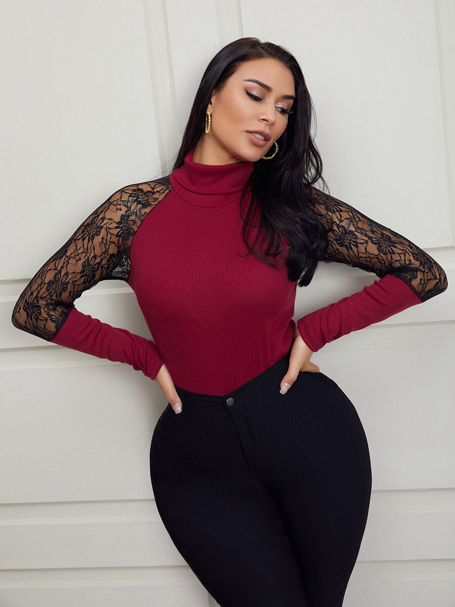 Lovely Sweet Turtleneck Lace Trim Patchwork Wine R