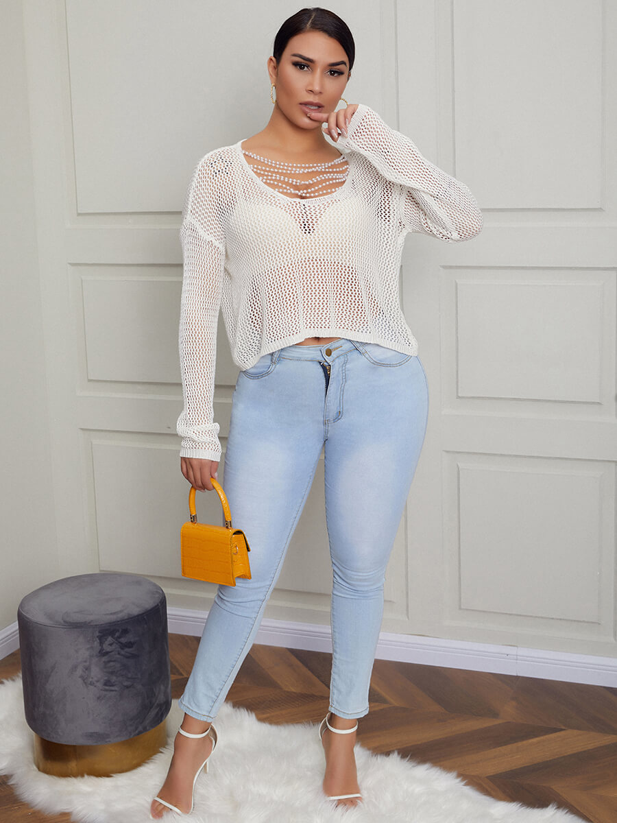 Lovely Sexy O Neck Hollow-out White Sweater