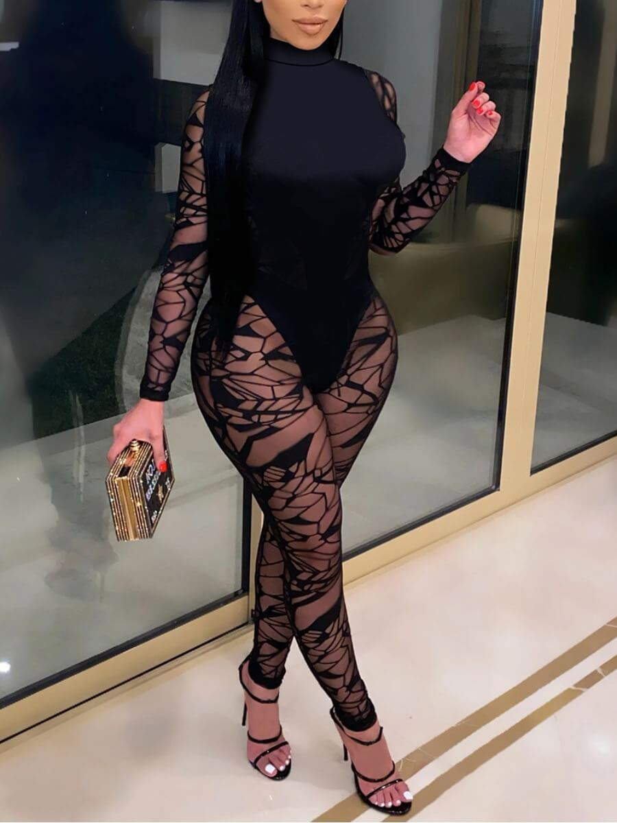 LW SXY Turtleneck See-through Patchwork Jumpsuit