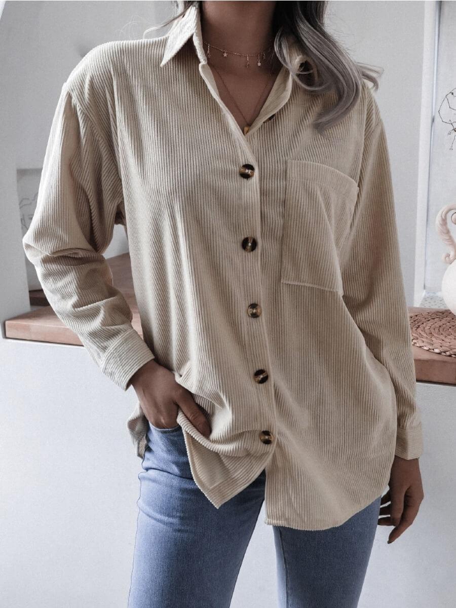 Lovely Casual Turndown Collar Pocket Design Aprico