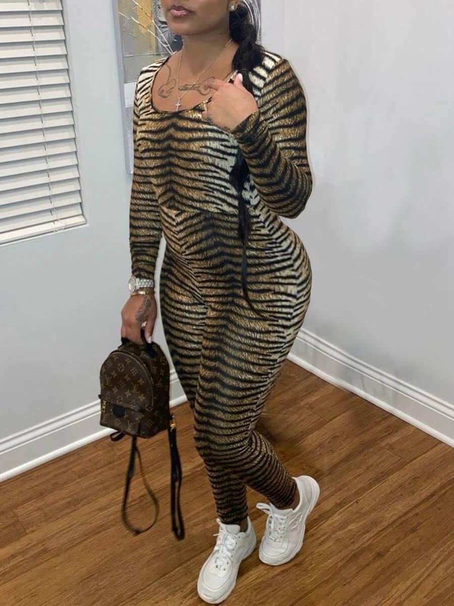 Lovely Casual U Neck Tiger Pattern Print One-piece