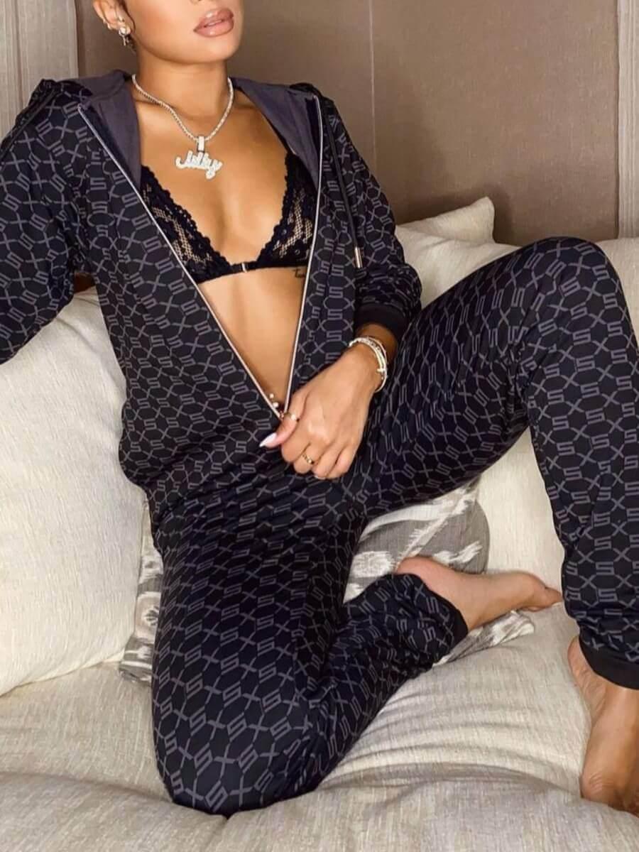 Lovely Casual Hooded Collar Geometric Print Black