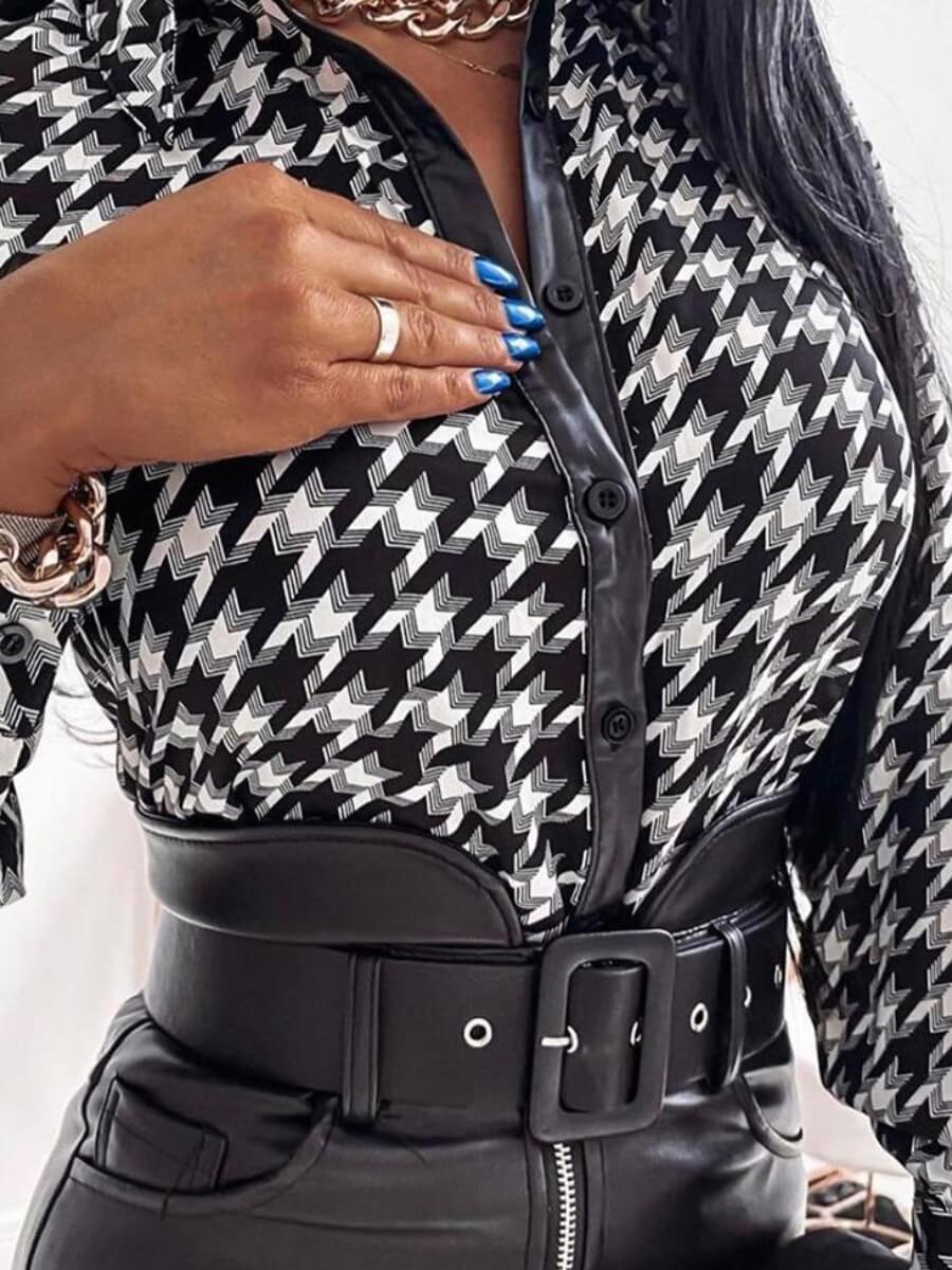 Lovely Formal Plaid Print Button Design Black Blou