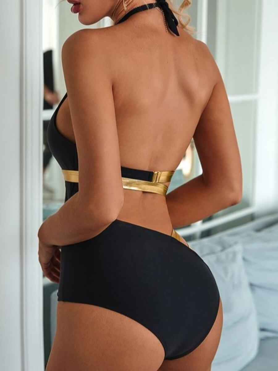 Lovely Sweet Hollow-out Patchwork Black One-piece Swimsuit