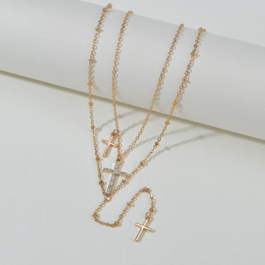 Lovely Stylish Cross Gold Multilayer Necklace